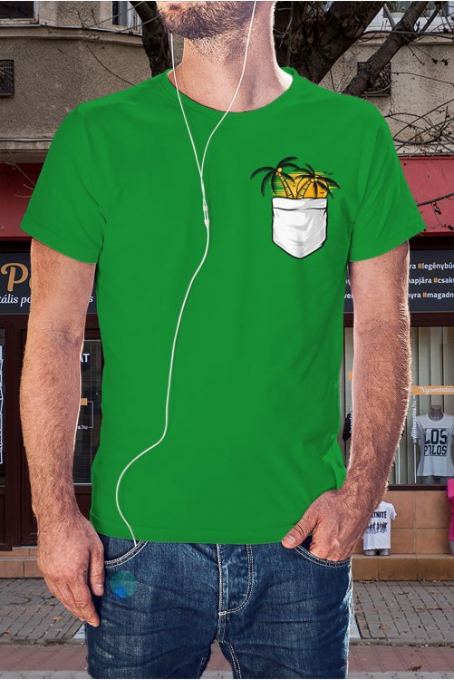 Pálmafás zsebmintás póló