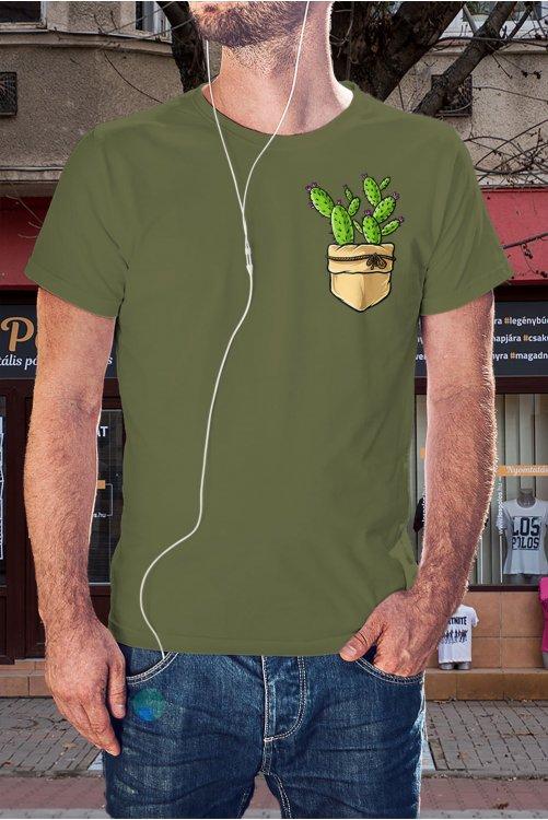 Kaktuszos zsebmintás póló