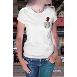 Rózsás zsebmintás póló