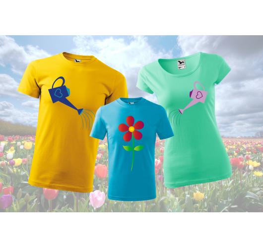 Viráglocsolós családi póló sze...
