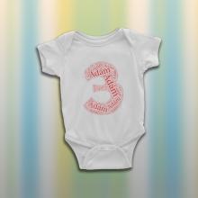 Szülinapos wordartos baba body - egyedi névvel és számmal -