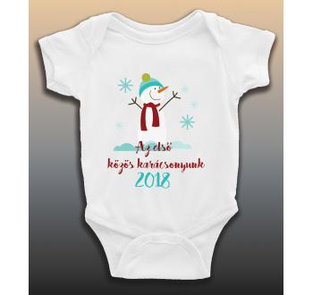 Az első karácsony - hóember mintás baba body