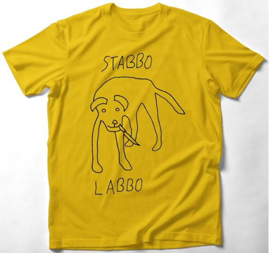 Stabbo labbo fekete póló