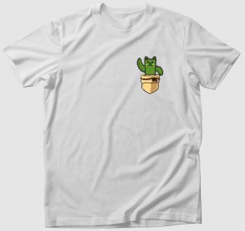 Macskás kaktuszos zsebmintás póló