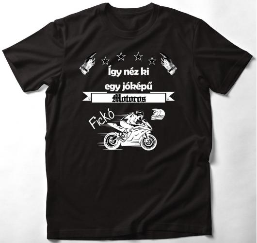 Jóképű motoros póló