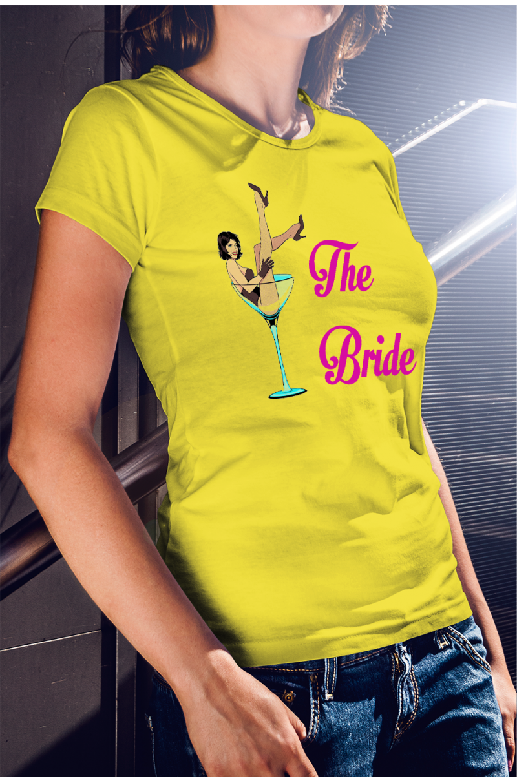 Lánybúcsúra koktélos menyasszony póló