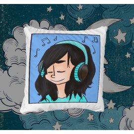 Girl listening to music párna