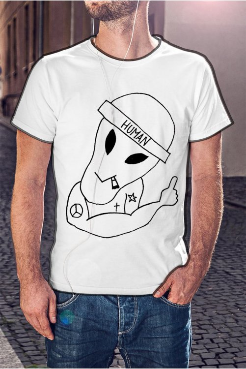 Tetovált UFO sapkában póló